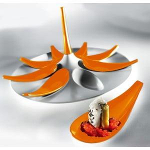 Biało-pomarańczowy komplet do serwowania Entity