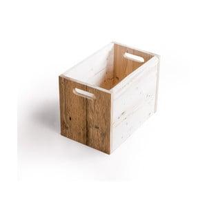 Drewniany pojemnik do przechowywania z jasnymi detalami Antique Wood, wys. 33,5cm