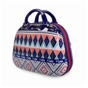 Niebieski kuferek podróżny z kolorowymi wzorami Lois