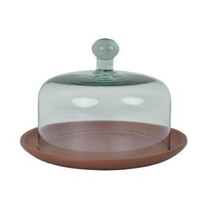 Taca z terakoty z kloszem ze szkła z recyklingu Ego Dekor Arlequin Vino, 370ml
