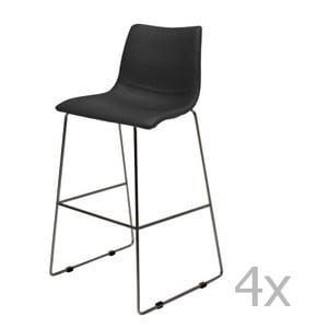 Zestaw 4 czarnych krzeseł barowych Canett Delta