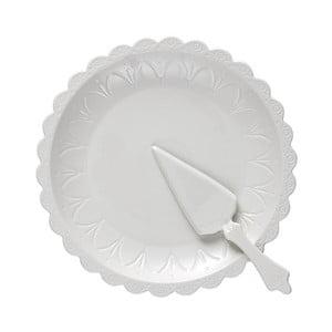Zestaw białego talerza na tort i łopatki Ladelle Bake