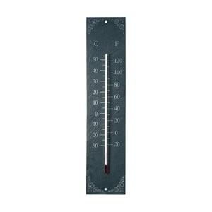 Wiszący zewnętrzny termometr z łupku z ornamentem EsschertDesign Recta