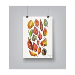 Plakat Americanflat Fall Leaves Watercolour, 30x42 cm