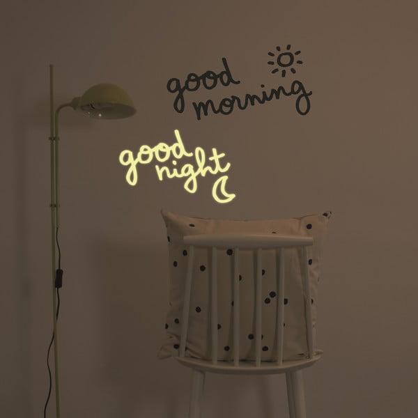 Naklejka świecąca w ciemności Good Morning, Good Night, 28x31 cm