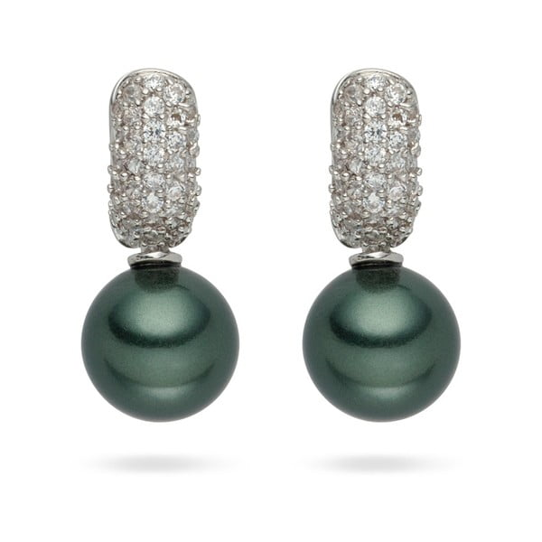 Ciemnozielone kolczyki perłowe Nova Pearls Copenhagen Helene
