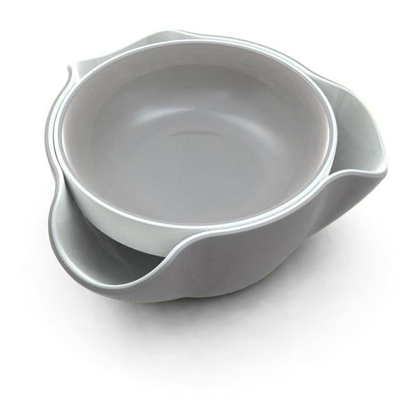 Podwójna miska Double Dish,   biała/szara