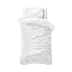 Biała pościel jednoosobowa z mikroperkalu satynowego Sleeptime, 140x220 cm