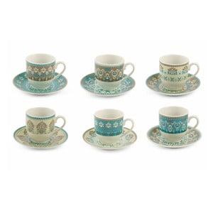 Zestaw 6 porcelanowych filiżanek do espresso ze spodkiem Villa d'Este Cala, 90 ml
