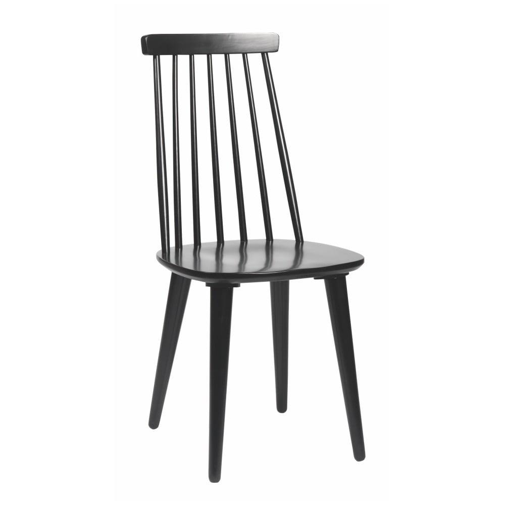 Czarne krzesło do jadalni z drewna kauczukowca Rowico Lotta