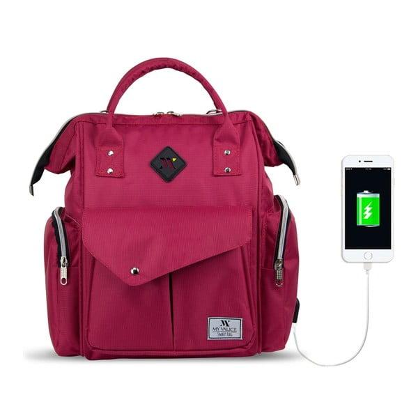 Fuksjowy plecak dla mam z USB My Valice HAPPY MOM Baby Care Backpack