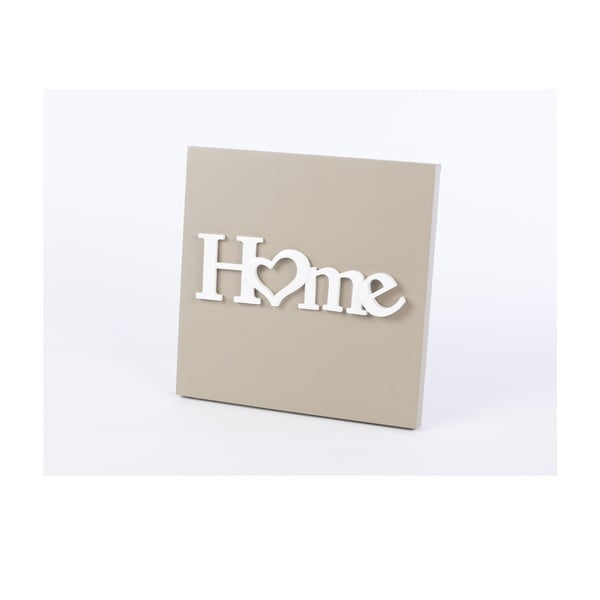 Drewniany obraz Home 30x30 cm, beżowy