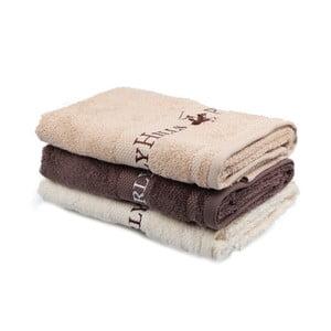 Zestaw beżowego, brązowego ii białego ręcznika Beverly Hills Polo Club Tommy Yazi, 50x100cm