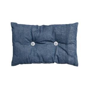 Poduszka z wypełnieniem Button 65x40 cm, niebieska