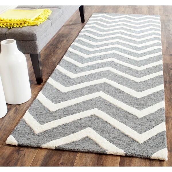 Wełniany dywan Edie Light Grey, 91x152 cm
