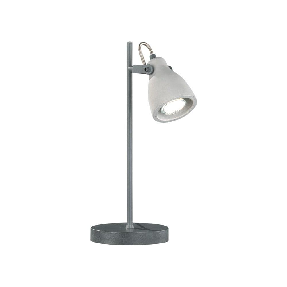 Szara lampa stołowa Trio Concrete, wys. 38 cm