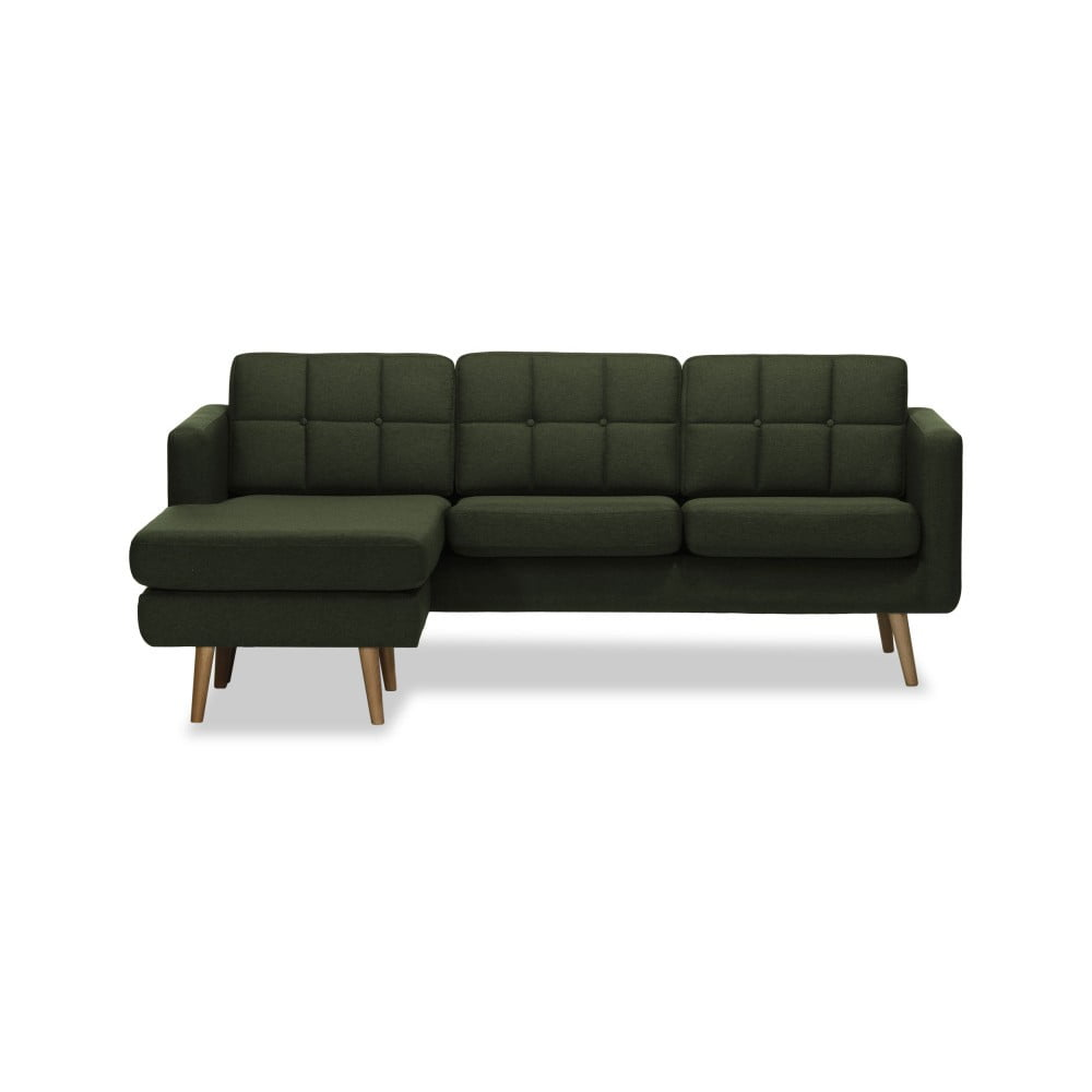 Ciemnozielona lewostronna 3-osobowa sofa narożna Vivonita Magnus