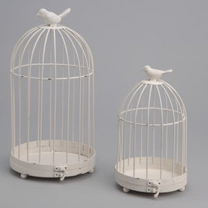 Komplet 2 klatek dekoracyjnych Bird White