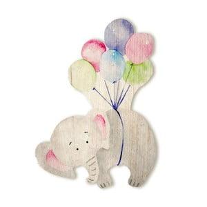 Drewniany słoń dekoracyjny Tanuki Flying Elephant, 110x65 cm