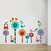 Naklejka ścienna Kwiaty i sowy, 70x50 cm