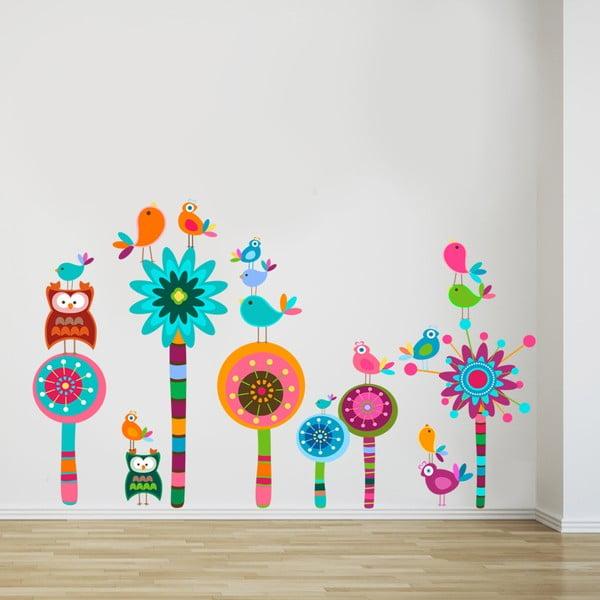 Naklejka na ścianę Kwiatki i sówki, 50x70 cm