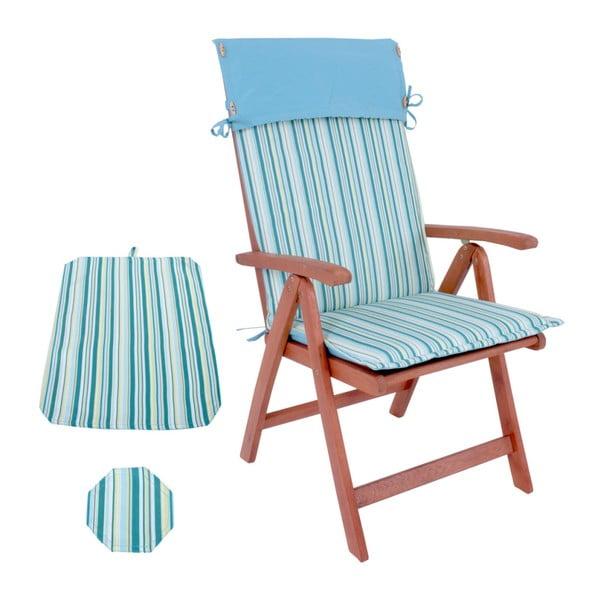 Ogrodowe krzesło składane z drewna eukaliptusowego z niebieskim siedziskiem ADDU Hochlehner