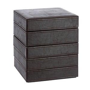 Pięciopiętrowa szkatułka na biżuterię ze sztucznej skóry Leather