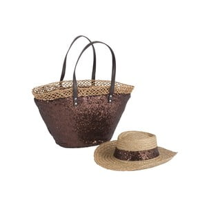 Torba plażowa i kapelusz Spangle Brown
