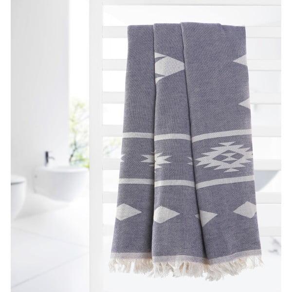 Dwustronny ręcznik hammam Alpha, ciemnoniebieski