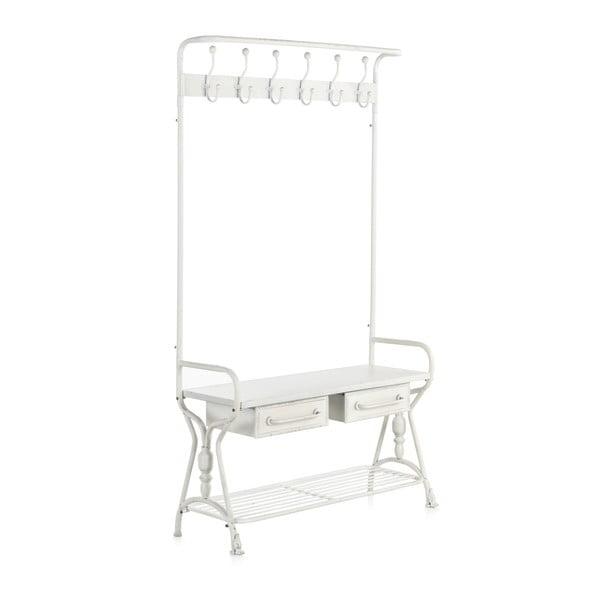 Biały metalowy stojak na płaszcze z 2 szufladami Geese Industrial Style