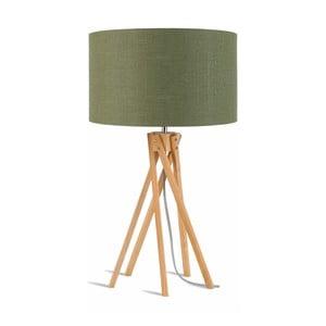 Lampa stołowa z zielonym kloszem i konstrukcją z bambusa Good&Mojo Kilimanjaro