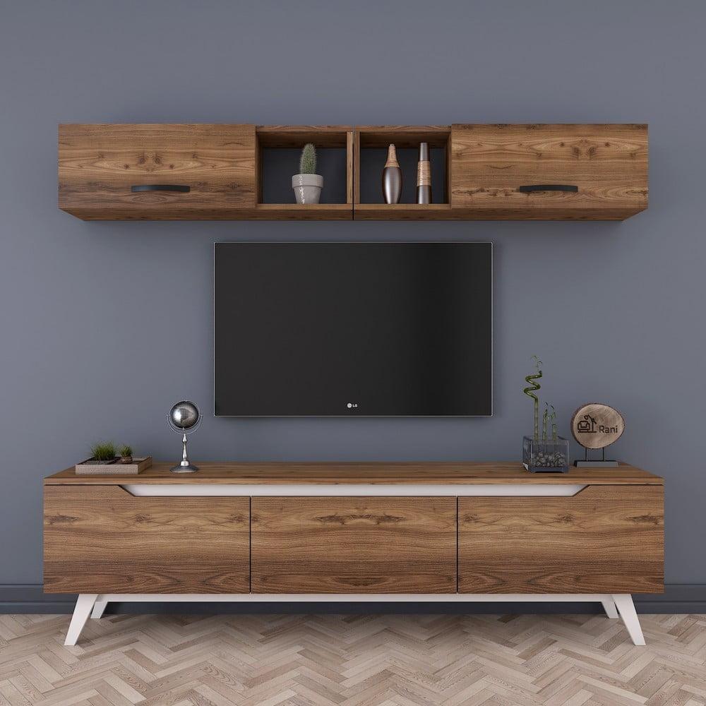 Zestaw szafki pod TV i szafki ściennej w dekorze drewna Wren