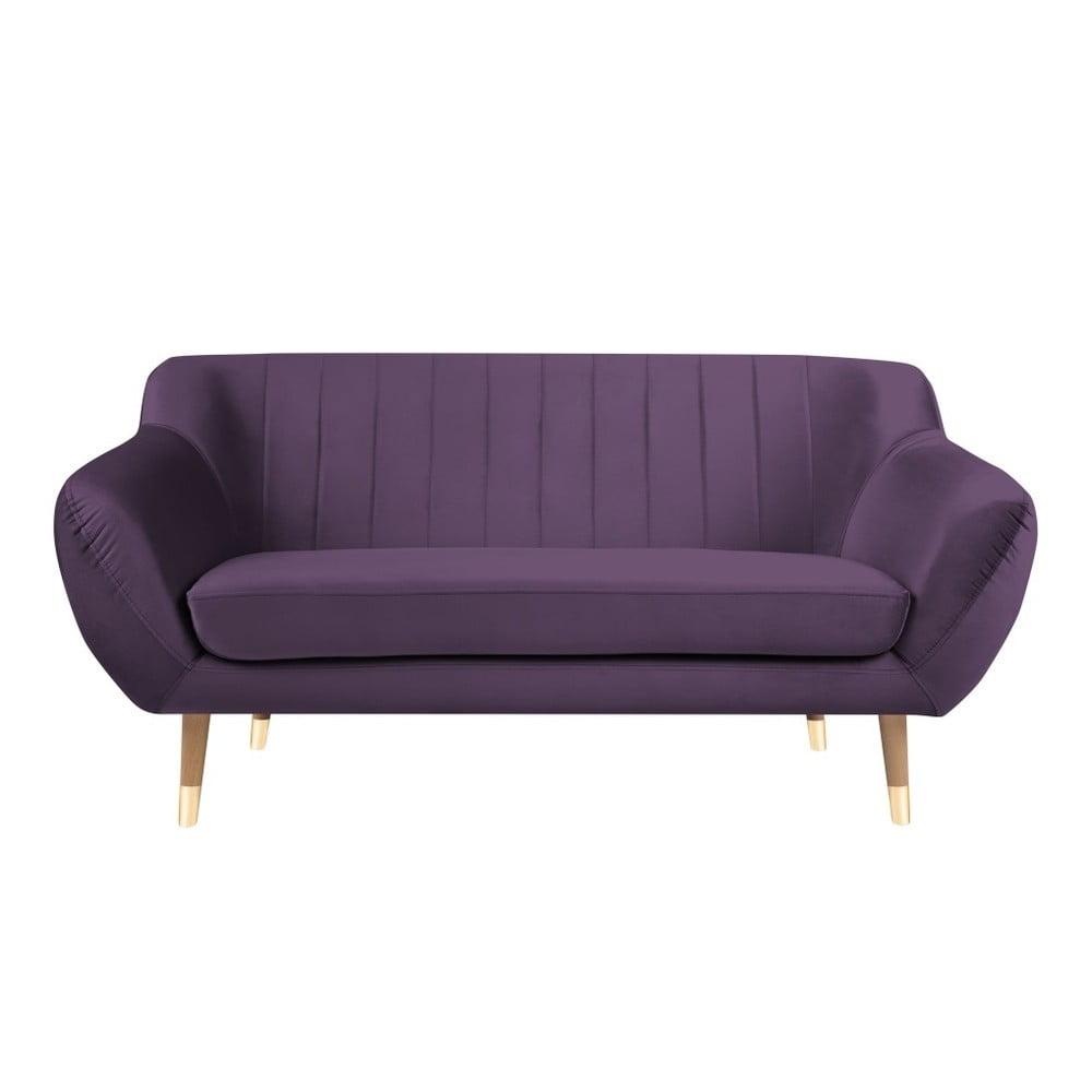 Fioletowa aksamitna sofa Mazzini Sofas Benito, 158 cm