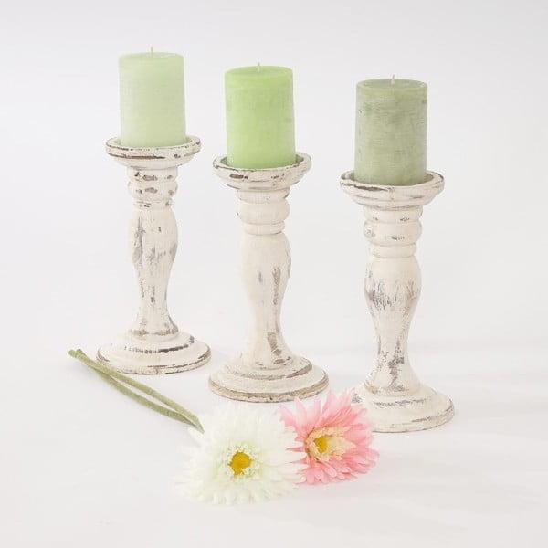 Zestaw 3 świeczników Mendler Shabby White, 24 cm
