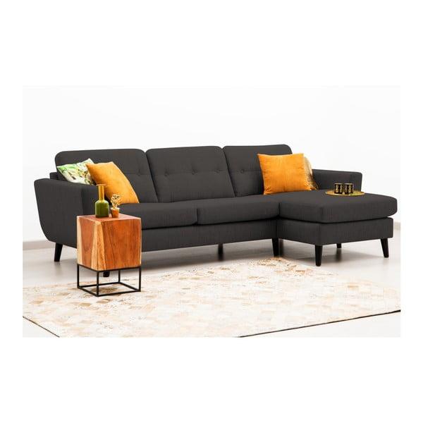 Antracytowa sofa z szezlongiem po prawej stronie Vivonita Harlem