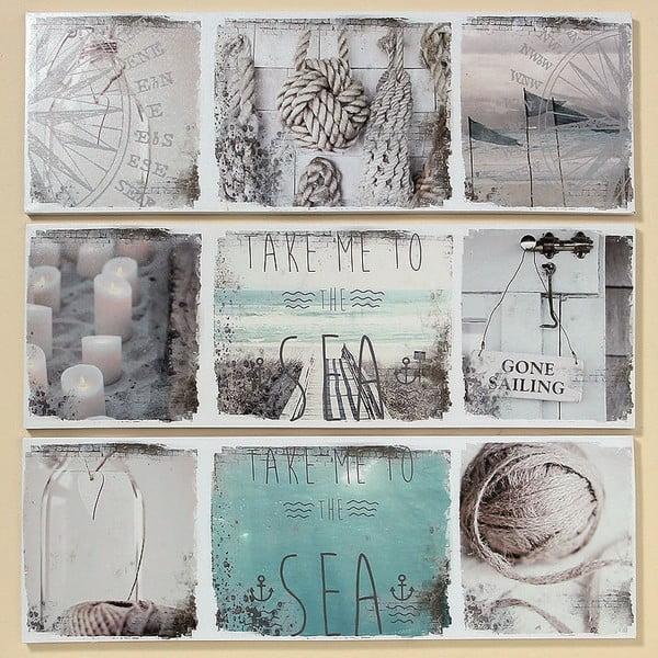 Zestaw 3 obrazów Sealife, 30x90 cm