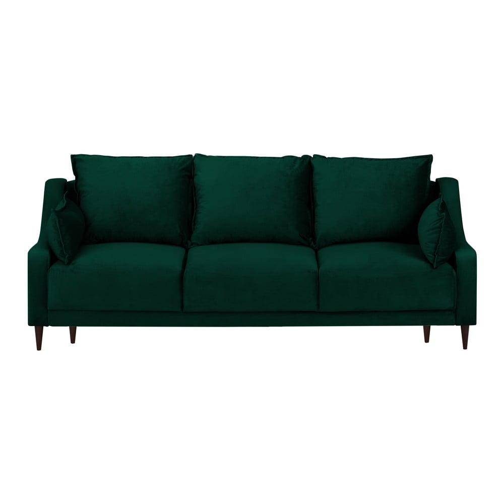 Ciemnozielona aksamitna rozkładana sofa ze schowkiem Mazzini Sofas Freesia, 215 cm