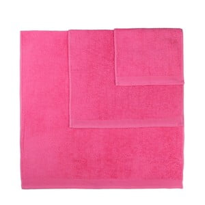 Komplet 3 różowych ręczników Artex Delta