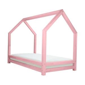 Różowe łóżko 1-osobowe z drewna sosnowego Benlemi Funny, 80x200cm