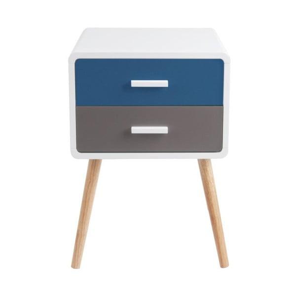 Niebiesko-szara szafka nocna z 2 szufladami Leitmotiv Neat