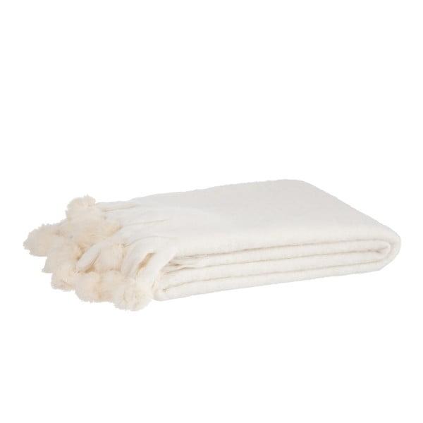 Koc Pompom 125x150 cm, biały