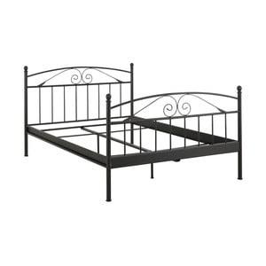 Czarne łóżko dwuosobowe Støraa Bibi, 140x200 cm