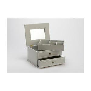 Szara szkatułka na biżuterię z lusterkiem Amadeus