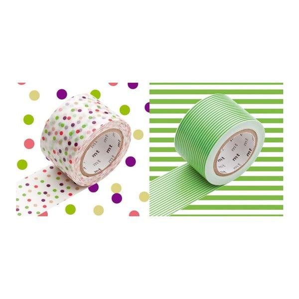 Zestaw 2 taśm dekoracyjnych washi Pois Rayures Green