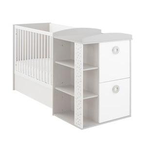 Białe łóżeczko dziecięce z regałem, szufladami i przewijakiem Galipette Zoé, 60x120cm