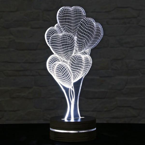 Lampa 3D stołowa Heart Ballons