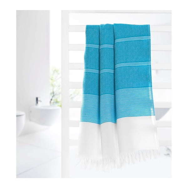 Ręcznik hammam Loincloth Line Turquoise, 80x170 cm