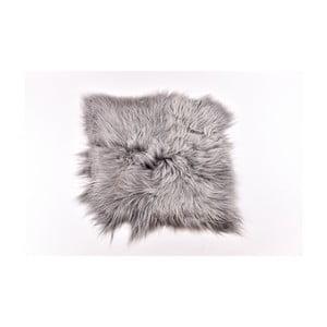 Szary dywan futrzany z długim włosiem Busta, 100x90cm