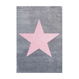 Szaro-różowy dywan dziecięcy Happy Rugs Superstar, 80x150 cm
