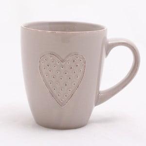 Bezowy ręcznie zdobiony kubek ceramiczny Dakls Heart, 300 ml